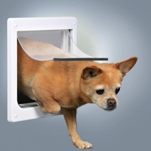 Trixie 2-Wege Freilauftür für Hunde XS-S weiß