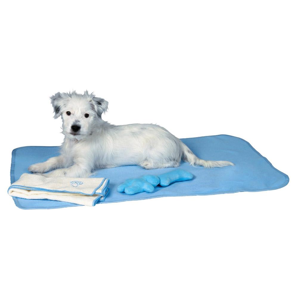 Trixie welpen set mit decke spielzeug handtuch hellblau