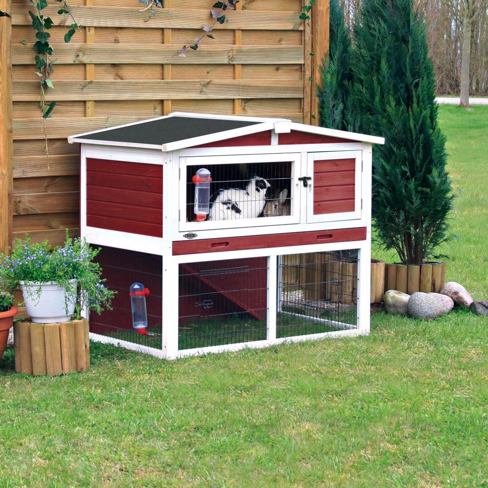 trixie natura kaninchenstall mit freilaufgehege rot-weiß 124 x 102 x